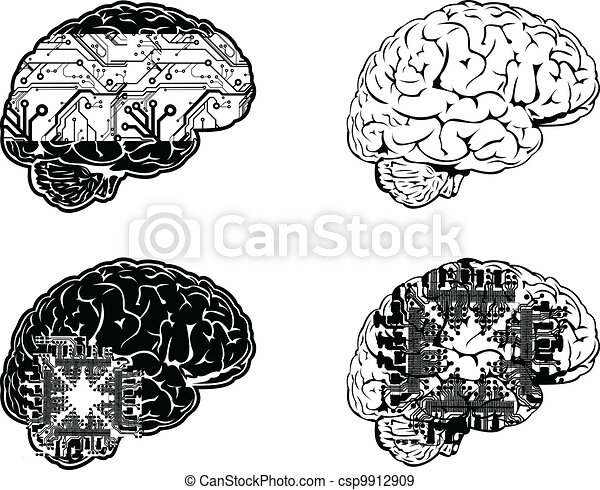 komplet, kolor, jeden, cztery, mózg, prospekt., elektronowy, bok - csp9912909