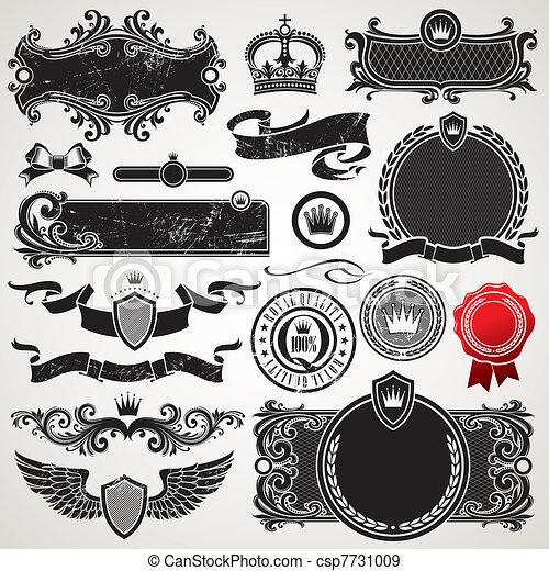 komplet, królewski, wektor, ozdobny, układa, elementy - csp7731009