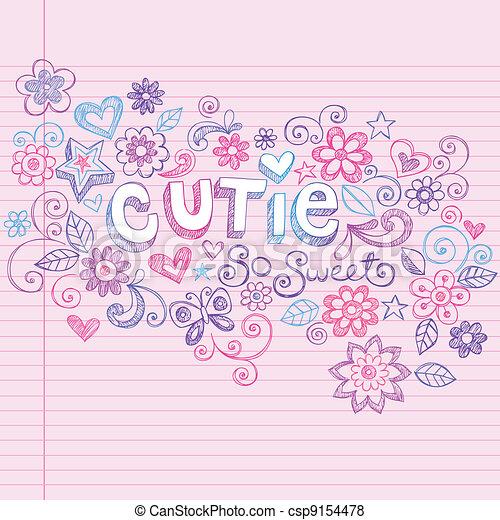 komplet, miłość, sketchy, serca, doodles, ty - csp9154478