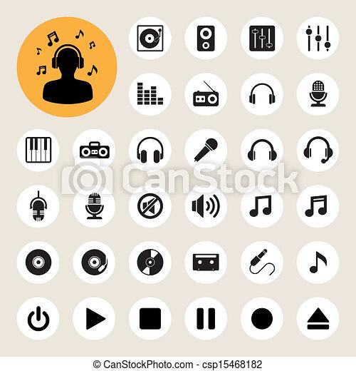 komplet, muzyka, ikona - csp15468182