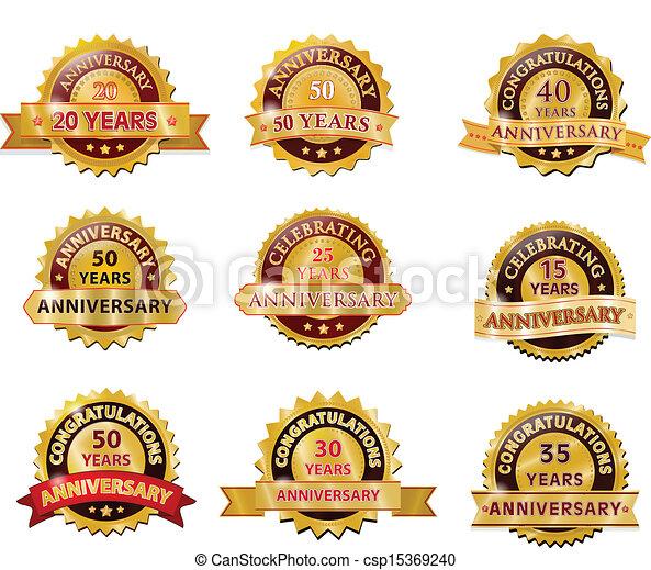 komplet, odznaka, rocznica, złoty - csp15369240