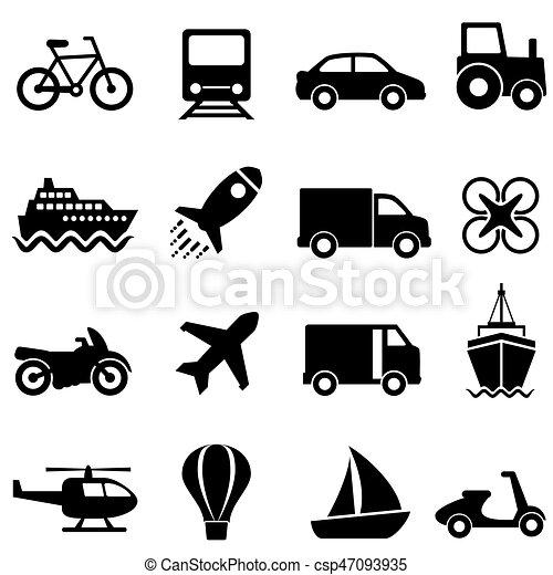 komplet, przewóz, powietrze, woda, ziemia, ikona - csp47093935