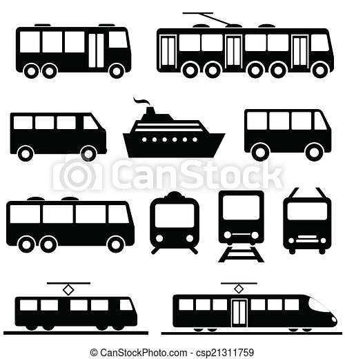 komplet, przewóz, publiczność, ikona - csp21311759