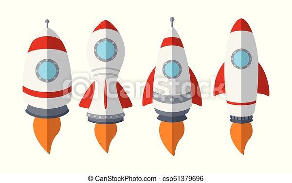 komplet, rakieta, odizolowany, tło, statek, biały - csp61379696