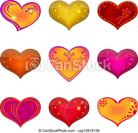 komplet, serce, valentine - csp10818136