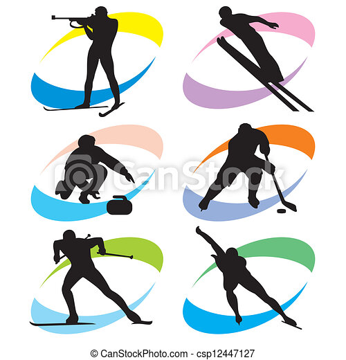komplet, sport, zima, ikony - csp12447127