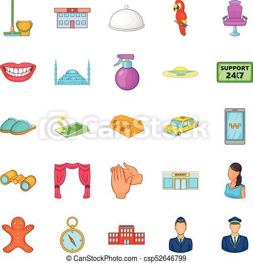 komplet, styl, obecność, rysunek, ikony - csp52646799
