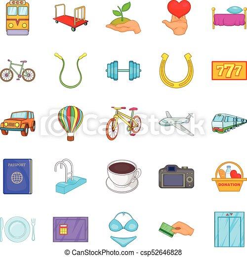 komplet, styl, obsługa, rysunek, ikony - csp52646828