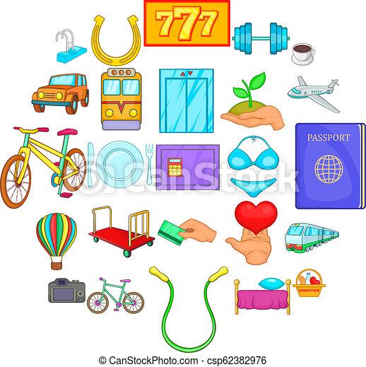 komplet, styl, obsługa, rysunek, ikony - csp62382976