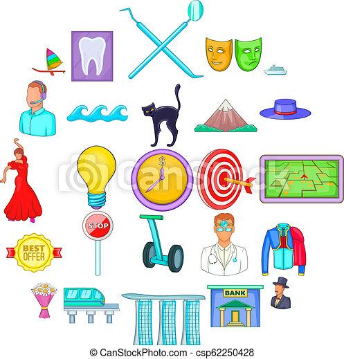 komplet, styl, wizyta, rysunek, ikony - csp62250428