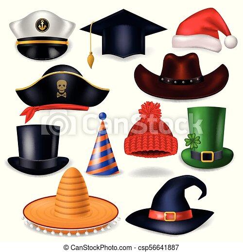 komplet, tło, headwear, świętując, komik, zabawny, odizolowany, stroik, partia, biały kapelusz, pirat, ilustracja, chrisrmas, urodziny, czarownica, święty, kłobuk, rysunek, kowboj, korona, wektor, albo - csp56641887