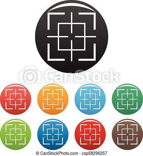 komplet, tarcza, ikony, kolor, wektor, skwer - csp58296257