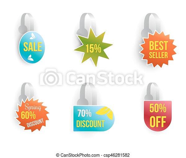 komplet, text., sprzedaż, wektor, reklama, wobbler - csp46281582