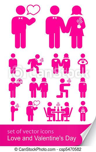 komplet, valentine, odizolowany, ilustracja, wektor, tło, biały, dzień, ikona - csp5470582