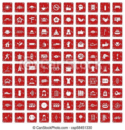 komplet, yoga, ikony, studio, grunge, 100, czerwony - csp58451330