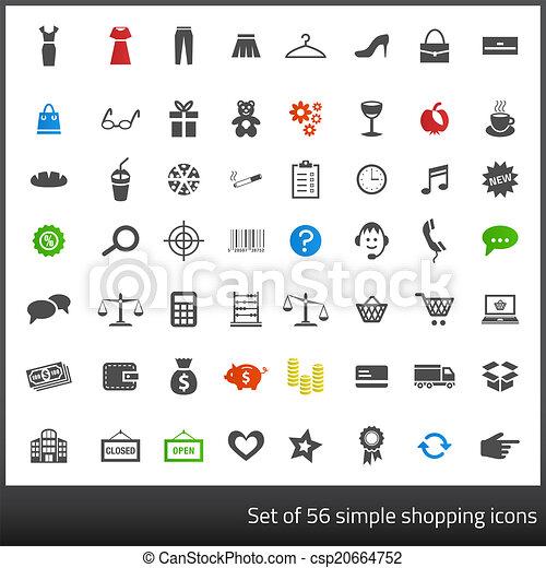 komplet, zakupy, ikony, 56, szary, powinowaty, ciemne tło, biały - csp20664752