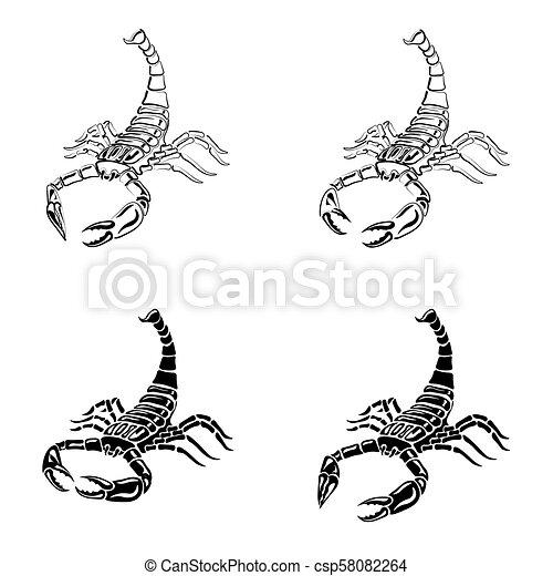 Komplet Znak Ilustracja Skorpiony Czarnoskóry Tatuaże Biały Zodiak
