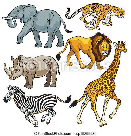 Komplet, zwierzęta, afrykanin, sawanna. Sawanna, afryka, beasts ...