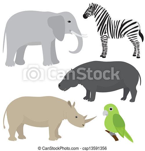 komplet, zwierzęta, rysunek, afrykanin - csp13591356