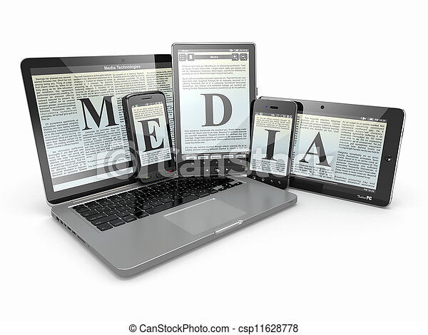 kompress, media., laptop, ringa, pc., elektronisk, devices. - csp11628778