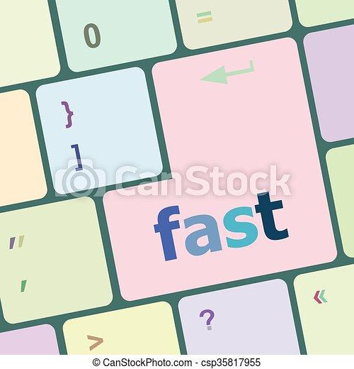 komputer, guzik, ilustracja, wektor, mocny, klucz, klawiatura - csp35817955