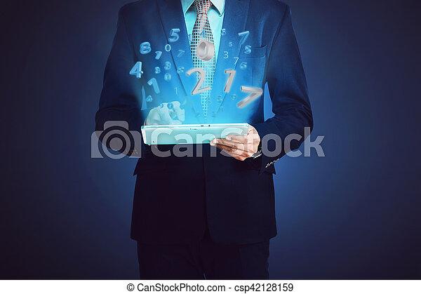 komputer, handlowy, tabliczka, liczba, dotykanie, 2017, człowiek - csp42128159