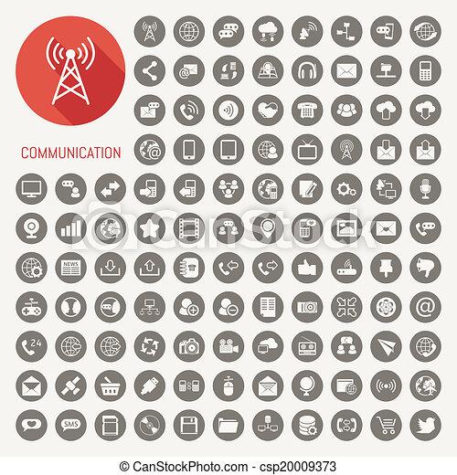komunikacja, czarne tło, ikony - csp20009373