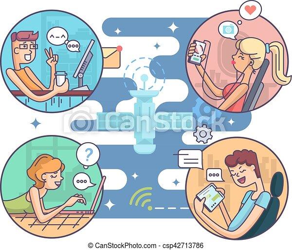 komunikacja, ludzie, odległość - csp42713786