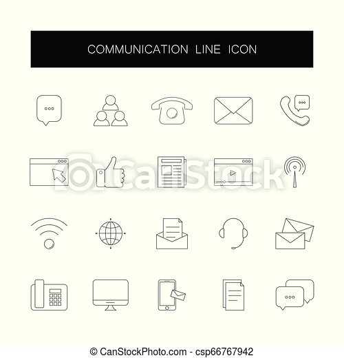 komunikacja, pack., ikony, kreska, set. - csp66767942