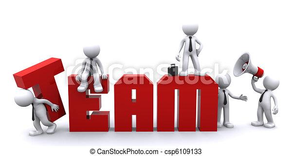 konceptualny, teamwork., handlowa ilustracja - csp6109133