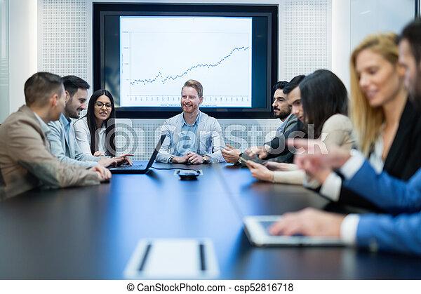 konferencja, obraz, spotkanie pokój, handlowy - csp52816718