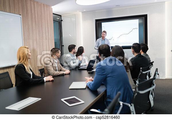 konferencja, obraz, spotkanie pokój, handlowy - csp52816460