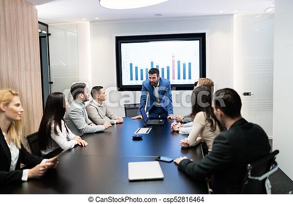 konferencja, obraz, spotkanie pokój, handlowy - csp52816464