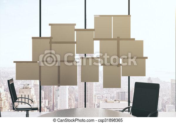Möbel Leer konferenz möbel zimmer auf fenster papier leer stock