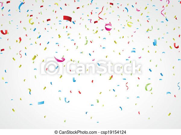 konfetti, vit, färgrik - csp19154124