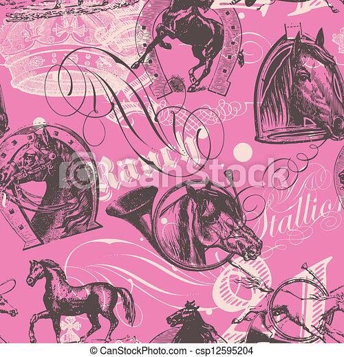 konie, próbka, seamless - csp12595204