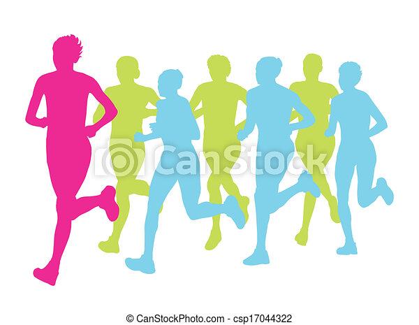 koniec, grupa, afisz, zwycięzca, wektor, maraton, tło, biegacze, kobiety - csp17044322