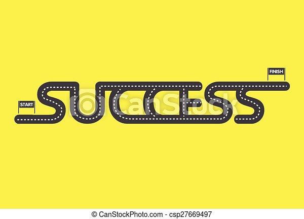 koniec, powodzenie, żółty, początek, tło, droga - csp27669497