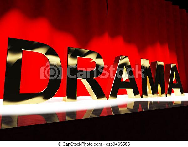 koniec, zachód, dramat, actin, broadway, słowo, reprezentujący, rusztowanie - csp9465585