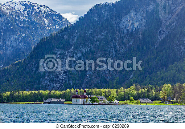 Koningsee lake and St. Bartholomew's Church, Germany - csp16230209
