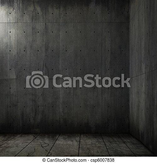 konkret, grunge, rum, bakgrund, hörna - csp6007838