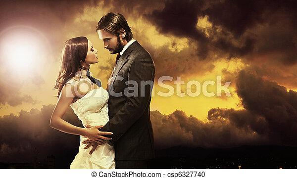 konst, foto, par, attraktiv, bröllop, fin - csp6327740