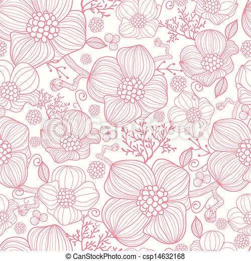 konst, mönster, seamless, bakgrund, fodra, blomningen, röd - csp14632168