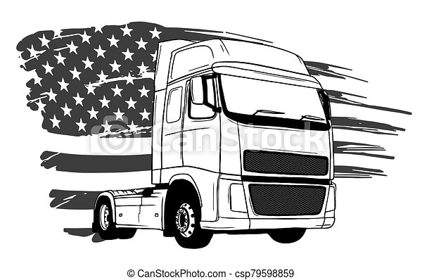 konst, tecknad film, design, semi transportera, vektor, illustration - csp79598859