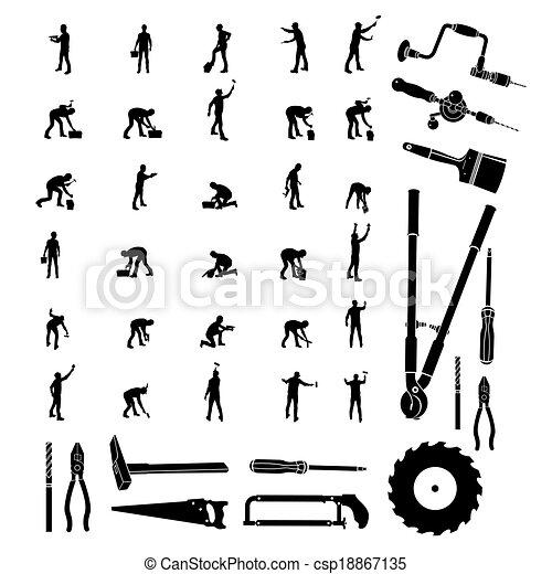 konstruktion arbejdere, vektor - csp18867135
