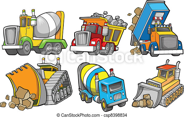 konstruktion, vektor, sæt, køretøj - csp8398834