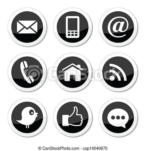 kontakt, medier, sociale, væv, iconerne - csp14040670