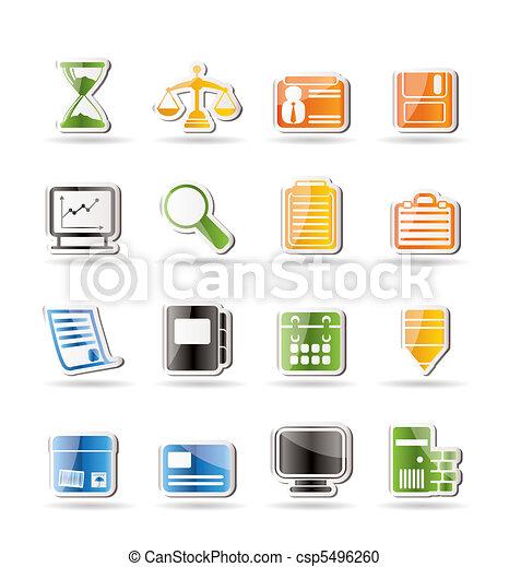 kontor, enkle ikoner, firma - csp5496260