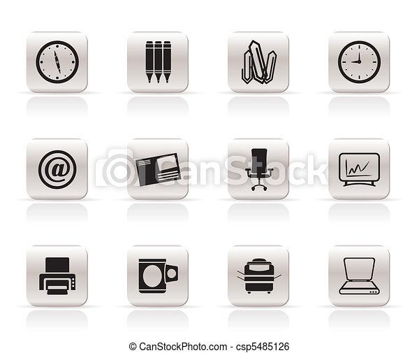 kontor, redskapen, ikonen, affär - csp5485126