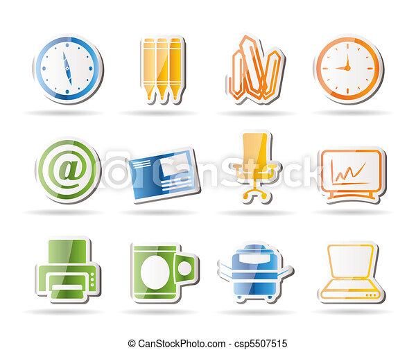 kontor, redskapen, ikonen, affär - csp5507515